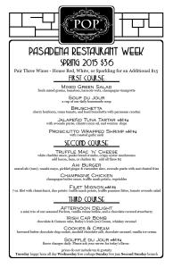 POP Champagne Pasadena Restaurant Week Menu 2015 menu